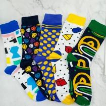 潮流圖設計繽紛圖案顏色普普風格中長襪個性帥氣百搭襪子