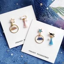 小巧可愛兩邊不對稱貓咪流蘇耳環富士山造型夾式耳環