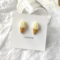 可愛霜淇淋造型耳釘耳環甜美香草霜淇淋俏皮耳釘耳環冰淇淋夾式耳環