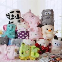 萌萌動物造型可收納式法蘭絨毯子沙發毯蓋腳兒童嬰兒毯生活用品