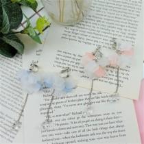 韓國清新透感霧色立體花瓣花苞長形耳環春夏花朵造型垂墜耳環夾式耳環