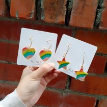 彩虹色系愛心星星造型圈圈耳環可愛俏皮大圈圈耳釘彩虹耳環