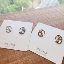 金屬線條造型人臉設計款貼耳耳環縷空人臉耳釘耳環