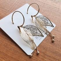 韓國百搭金屬輕量款簡約樹葉設計流蘇長款耳環夾式耳環