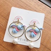 韓國彩虹耳釘小飛象造型耳環dumbo可愛卡通夾式耳環