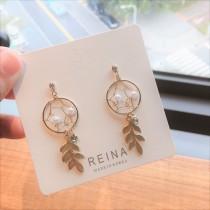 韓國金屬浪漫捕夢網白珍珠氣質鑽鑽耳釘耳環夾式耳環
