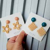 韓國竹珠設計款菱形星星耳釘耳環文青氣質風格耳釘耳環夾式耳環