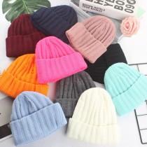 厚毛線短版西瓜帽無球毛帽個性街頭毛帽歐美風格冷帽