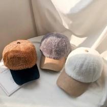 韓國質感羊羔毛造型保暖鴨舌帽棒球帽老帽女帽