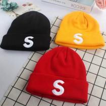 潮流針織毛線帽刺繡S造型無球毛帽冷帽長版西瓜帽男帽女帽情侶帽