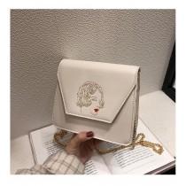 刺繡圖文藝造型設計款硬殼小包金屬鏈帶斜背包肩背包