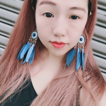 熱賣款韓國造型雙色羽毛耳環渡假仙氣十足長形羽毛夾式耳環