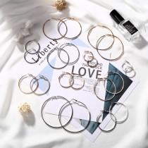 熱賣款時髦百搭經典細版大圈圈耳環金銀圓形縷空耳環夾式耳環