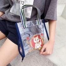 日本代購可愛創意貓咪造型透明購物包手提包時髦潮流日系包