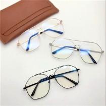 潮流時髦方形雷朋平光造型眼鏡金屬框大鏡片造型鏡框