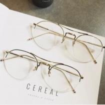 半框式造型眼鏡小鏡片文青文藝青年男眼鏡女眼鏡平光眼鏡
