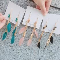 韓國手工長形金屬流蘇渡假超仙羽毛耳環設計款夾式耳環