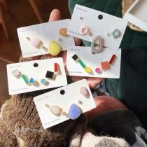 幾何圖形滴油馬卡龍色系粉嫩簡約耳釘耳環不規則造型小巧精緻貼耳耳環