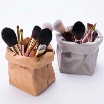 可摺疊式牛皮環保防水置物筒筆刷筒文具筒生活用品美妝用品