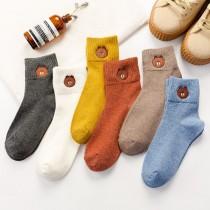 韓國直送秋冬保暖素色毛料熊熊深色學院風女襪暖色調色系短襪