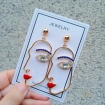韓國特色金屬縷空人臉鑽鑽blingbling設計款耳釘耳環創意KUSO夾式耳環