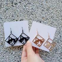 貓咪造型金屬菱形垂墜耳環個性可愛貓貓縷空設計款耳環夾式耳環