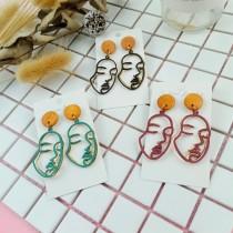 韓國創意特色搞怪個性復古百搭抽象人臉雙層耳環手作飾品