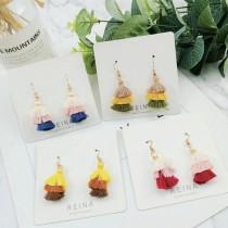 粉嫩糖果色小巧精緻流蘇耳環可愛甜美垂墜耳環夾式耳環