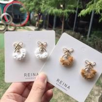 韓國小巧精緻毛毛圓形縷空蝴蝶結耳釘耳環可愛優雅甜美耳釘耳環
