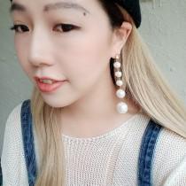 氣質優雅珍珠長形鑽鑽耳釘耳環修飾臉型白色珍珠夾式耳環