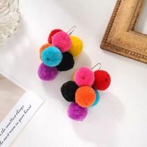 彩色毛球網紅同款串串可愛造型耳環時髦甜美手工設計款夾式耳環