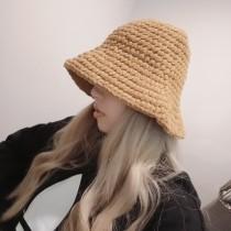 韓國泫雅同雪尼爾漁夫帽女秋冬加厚保暖手工編織棉線盆帽時髦鐘型帽