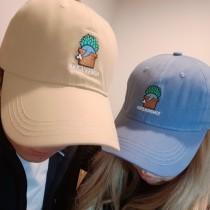 韓國童話刺繡卡通塗鴉百搭老帽純色熱賣款素款棒球帽男帽女帽鴨舌帽
