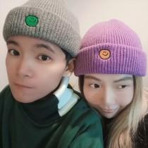 新款帽子男女秋冬韓版可愛笑臉毛線帽學生保暖時時髦潮流針織冷帽情侶款