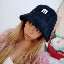 韓國甜美簡約英文字m造型厚毛料燈心絨保暖造型漁夫帽盆帽韓妞必備造型女帽