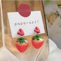 可愛水果草莓造型愛心耳釘耳環草莓造型垂耳耳環甜美顯白水果耳環