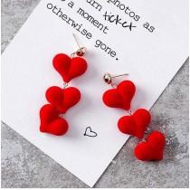 優雅甜美亮麗立體絨料愛心造型長形耳釘耳環愛心造型夾式耳環