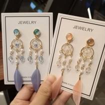 韓國浪漫捕夢網造型羽毛長型耳釘耳環氣質優雅仙氣夾式耳環
