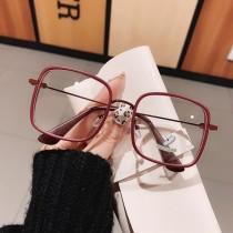 方形馬卡龍霧系糖果色眼鏡框可配近視網紅款素顏新款大框鏡顯臉小男女潮流平光眼鏡