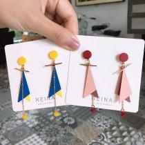 韓國設計款糖果撞色系幾何圖形造型耳環長形甜美俏皮耳環