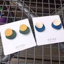 韓國氣質可愛撞色糖果色圓形普普風格耳釘耳環幾何圖形貼耳耳環