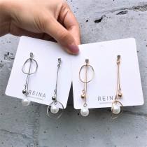 韓國氣質金色銀色長形白色珍珠不規則圓形鑽鑽耳釘耳環夾式耳環