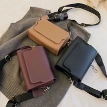 韓國簡約方形質感小包肩背包側背包手拿包手機包百搭莫蘭迪色優雅包