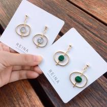 韓國金屬不規則縷空大理石紋氣質優雅百搭造型耳環夾式耳環