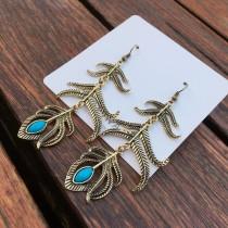 韓國設計款古銅色雕花造型長形耳環浪漫土耳其藍度假風格耳環