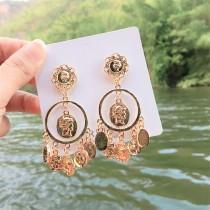 金屬錢幣造型華麗宮廷風垂墜耳環巴洛克風格造型耳環
