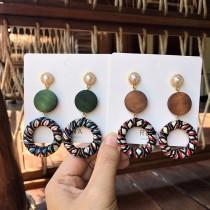 手工木質圓形長形設計白色珍珠耳釘耳環彩色線條縷空圓形耳環