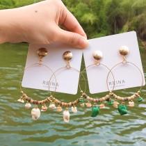 民族風造型縷空木質大理石紋路設計款韓國耳釘耳環