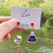 愛心耳釘兩邊不對稱耳環浪漫泡泡球滴油金魚耳環造型夾式耳環