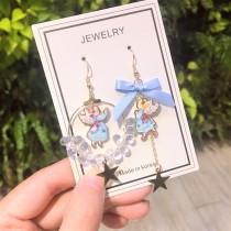 韓國甜心可愛天使造型圓形透明水晶耳環設計款夾式耳環